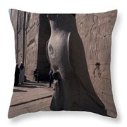 Statue Of The Bird God, Horus Throw Pillow by Richard Nowitz