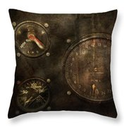 Steampunk - Check Your Pressure Throw Pillow by Mike Savad