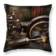 Steampunk - The Contraption Throw Pillow by Mike Savad