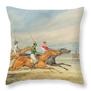 Steeplechasing Throw Pillow by Henry Thomas Alken