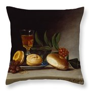 Still Life With A Wine Glass Throw Pillow by Raphaelle Peale