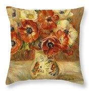 Still Life With Anemones  Throw Pillow by Pierre Auguste Renoir