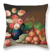 Still life with fruit and flowers Throw Pillow by William Buelow Gould