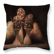 Still Life with Mushrooms and Pears I Throw Pillow by Tom Mc Nemar