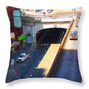 Stockton Street Tunnel in Heavy Shadow . Long Version Throw Pillow by Wingsdomain Art and Photography