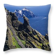 Stone Stairway, Skellig Michael Throw Pillow by Gareth McCormack