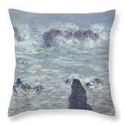 Storm Off The Coast Of Belle Ile Throw Pillow by Claude Monet
