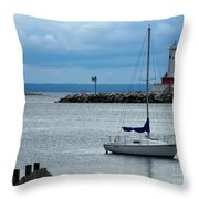 Storm Over Mackinac Throw Pillow by Pamela Baker