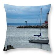 Storm Over Mackinac Throw Pillow by Pamela Baker