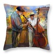 Street Musicians In Prague In The Czech Republic 01 Throw Pillow by Miki De Goodaboom