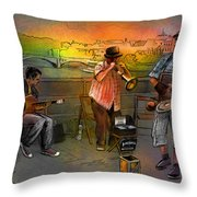 Street Musicians In Prague In The Czech Republic 03 Throw Pillow by Miki De Goodaboom