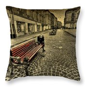 Street Seat Throw Pillow by Evelina Kremsdorf