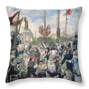 Study For Le 14 Juillet 1880 Throw Pillow by Alfred Roll