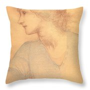 Study in Colored Chalk Throw Pillow by Sir Edward Burne-Jones
