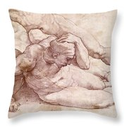 Study Of Three Male Figures Throw Pillow by Michelangelo