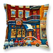 St.viateur Bagel Hockey Montreal Throw Pillow by Carole Spandau
