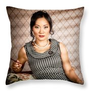 Stylish vintage asian pin-up lady with cigarette Throw Pillow by Ryan Jorgensen