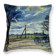 Suburban Landscape In Spring  Throw Pillow by Waldemar Rosler
