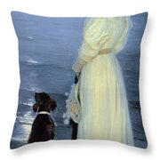 Summer Evening At Skagen Throw Pillow by Peder Severin Kroyer