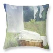 Summer Laundry Drying On Clothesline Throw Pillow by Sandra Cunningham