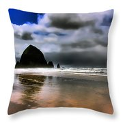 Sun Shining On Haystack Rock Throw Pillow by David Patterson