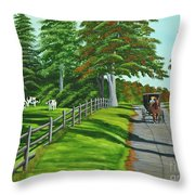 Sunday Drive Throw Pillow by Charlotte Blanchard