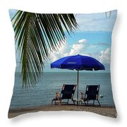 Sunday Morning At The Beach In Key West Throw Pillow by Susanne Van Hulst