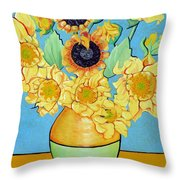 Sunflowers Tribute To Vincent Van Gogh II Throw Pillow by Christine Belt