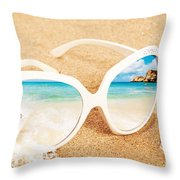 Sunglasses In The Sand Throw Pillow by Amanda Elwell