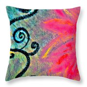 Sunny day pink Throw Pillow by Gwyn Newcombe