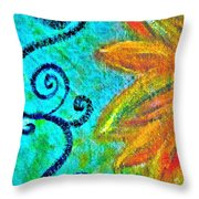 Sunny day yellow Throw Pillow by Gwyn Newcombe