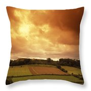 Sunrise Over Ruins Of The Castle Throw Pillow by Richard Nowitz