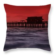 Sunset at Naples Pier Throw Pillow by Melanie Viola