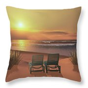 Sunset Beach Throw Pillow by Corey Ford