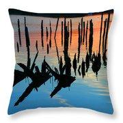 Sunset In Colonial Beach Virginia Throw Pillow by Clayton Bruster