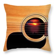 Sunset In Guitar Throw Pillow by Garry Gay
