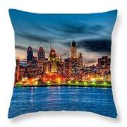 Sunset Over Philadelphia Throw Pillow by Louis Dallara