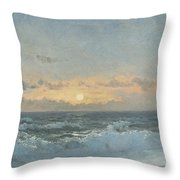 Sunset Over The Sea Throw Pillow by William Pye