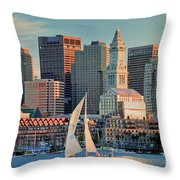 Sunset Sails On Boston Harbor Throw Pillow by Susan Cole Kelly