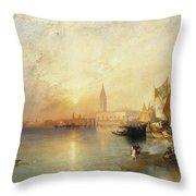 Sunset Venice Throw Pillow by Thomas Moran