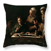 Supper At Emmaus Throw Pillow by Michelangelo Merisi da Caravaggio