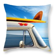 Surf Van Throw Pillow by Carlos Caetano