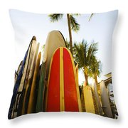 Surfboards At Waikiki Throw Pillow by Dana Edmunds - Printscapes