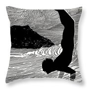 Surfer And Waikiki Throw Pillow by Hawaiian Legacy Archive - Printscapes