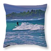 Surfer Rides The Outside Break Throw Pillow by Bette Phelan