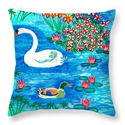 Swan And Duck Throw Pillow by Sushila Burgess