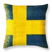 Swedish Flag Throw Pillow by Setsiri Silapasuwanchai