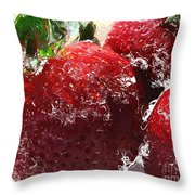 Sweet  Like a Chocolate Strawberry Throw Pillow by Colleen Kammerer