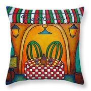 Table For Two At The Trattoria Throw Pillow by Lisa  Lorenz