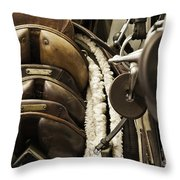 Tac Room Saddles Throw Pillow by John Greim